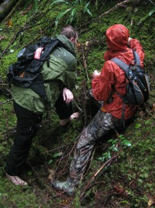 hiking in full rain gear