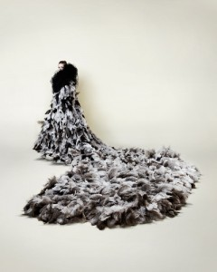 Icarus by Susie MacMurray - ostrich feather coat