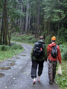 barefoot hiking on a gravel road off the Middle Fork Snoqualmie River