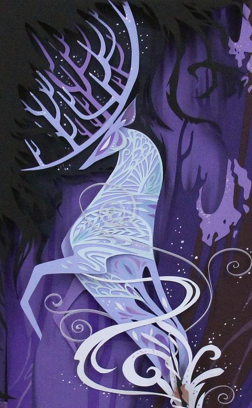 Papercut white stag