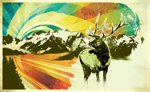 Stag before a mountain range and the northern lights
