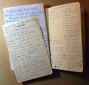 handwritten notes for creative annual review process