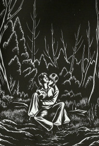 burns-couple in the woods